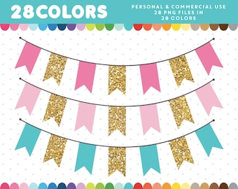 Gold banner clipart, Gold bunting flags clipart, Gold pennant clipart, Digital bunting banner flags, Gold bunting clipart, CL-1671