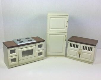 MINIATURE KITCHEN SET,  Traditional Modern 1:12 Scale, Vintage Dollhouse Furniture, Appliances