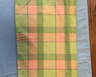 Vintage 60's 70's retro mid century pale lime green pink check pattern cotton fabric greener pinker brighter in person 2.5 yards x 36 inches