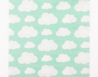 Clouds Paper Napkins Pack Of 20 - Birthday Party Baby Shower Mint Green