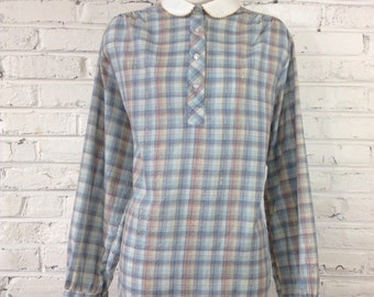 1980s Plaid Blouse with White Peter Pan Collar, Size XL-PLUS