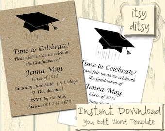 Graduation invitation template with a Mortarboard design - Download, edit & print yourself - Printable invitations Word Instant Download