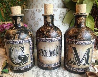 Personalised Initials Bottle, Personalised Bottle, Personalised Gift, Personalised Steampunk Gift. Gothic Decor, Gothic Bottle, Gothic Gift.