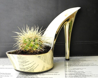 Goldigger. feminist art. upcycled gold platform stiletto cactus planter. fashion redux