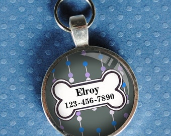 Pet iD Tag blue and grey patterned colorful round Dog Tag 35mm round -  by California Mutts