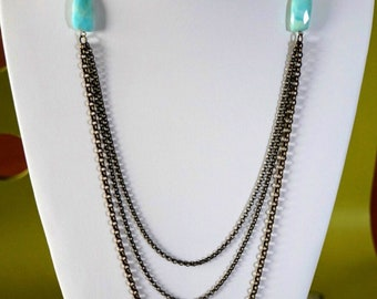 Multi strand long antique brass necklace with Peruvian opal