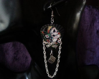Day of the dead guitar pick earrings with dice and white chain