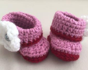 Baby // Booties // Crochet // Baby Girl // Cuff Booties // Handmade // Baby Shower //  Newborn // Slippers // Rose // Red // Flower