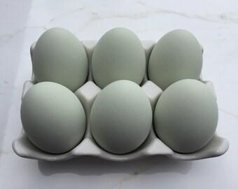 Ceramic Eggs, 6 Teal Chicken Eggs