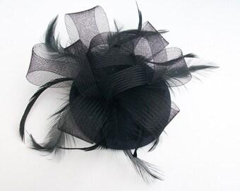 Black Fascinator Hat Black Cocktail Hat Black Hatinator Black Funeral Hat Races Hat Kentucky derby hat for races Black Wedding Hat