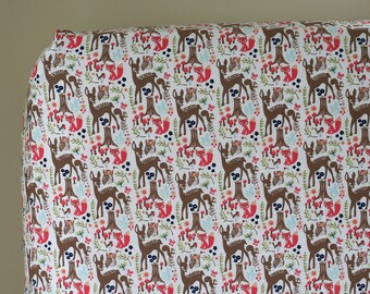 Woodland Nursery Bedding, Fitted Crib Sheet, Changing Pad Cover, Boy, Girl, Neutral, Woodland Spring Forest Deer Fox Owl