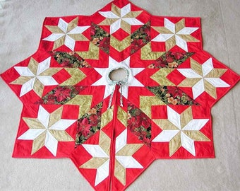 Christmas tree skirt, 54 by 54 inches, Patchwork, Wonderful gift, red, white, and gold, quality cotton, traditionally quilted