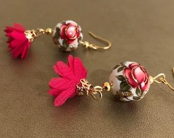 Rosaline Daisy on White Japanese Tensha Bead Earrings