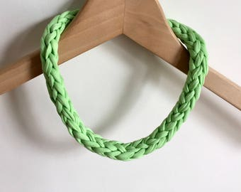 Lime Green T-shirt yarn necklace - Lightweight necklace - Green jewellery - Gift for her - Green necklace  - Green jewelry