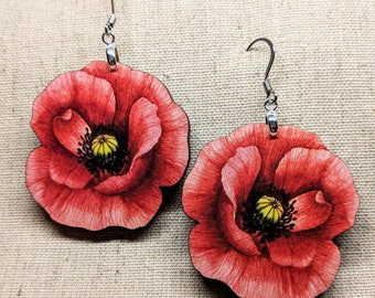 Poppy Earrings / Laser Cut Wood Earrings / Stainless Steel / Hypoallergenic / Flower Jewelry / Summer Earrings / Flower Earrings