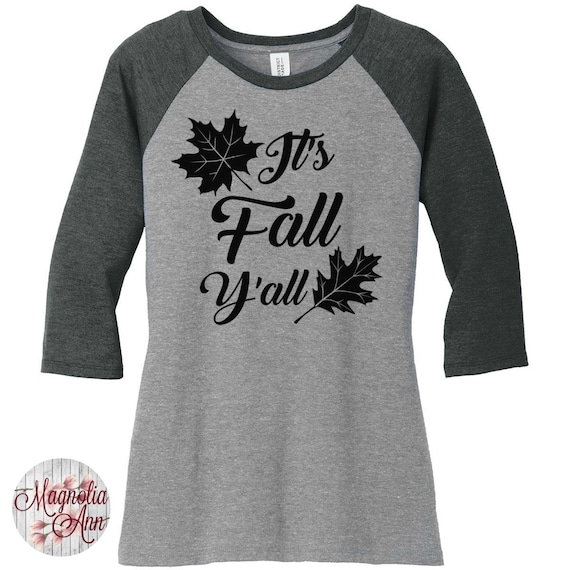 It's Fall Y'all, Leaves Womens Baseball Raglan 3/4 Sleeve Top in 5 colors, Sizes Small-4X, Plus Size