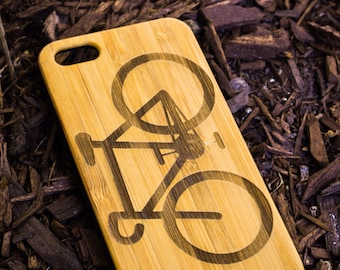 Bicycle A040 Laser engraved Wood case with rubber coated plastic for iPhone 6 6s 6 plus 6s plus 7 7 plus 8 8 plus x