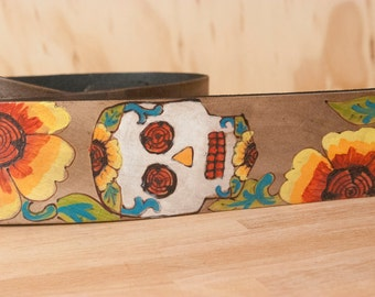 Leather Guitar Strap - Handmade in the Vesa pattern with day of the dead skull and flowers - Acoustic or Electric Guitars