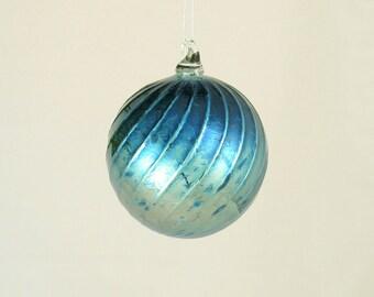 Glass Christmas Ornament - Hand Blown Glass Ball - Deep Silver Midnight Blue Iridescent Luxury - under 25