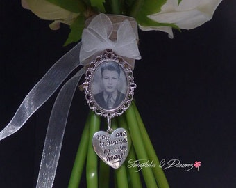 Your Always In My Heart Charm personalised with your own photo - Bridal Bouquet Photo Charm, Memorial Charm, 25x18 Photo