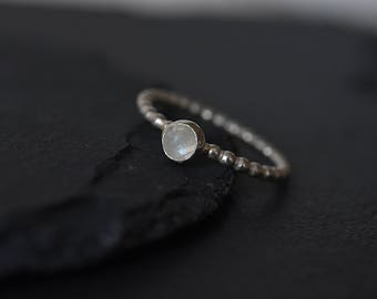 Dainty moonstone ring -  Sterling silver - Stacking ring with stone - Dainty minimalist ring - Christmas gift for girflriend