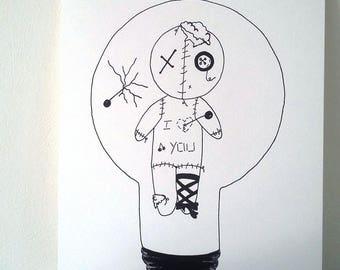 "Poster Illustration black and white ""Voodoo"" bulb"