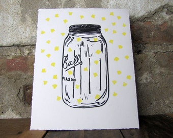 Firefly Mason Jar Print - Summer Home and Garden Decor
