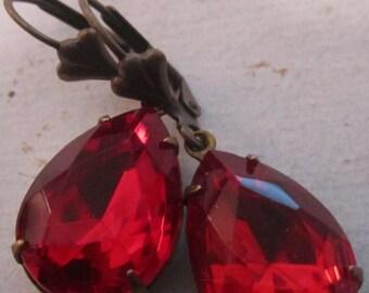 Red Rhinestone Earrings Vintage Siam Ruby Red Rhinestone Earrings Blood Red Earrings Aged Brass Setting July Birthstone Christmas Earrings