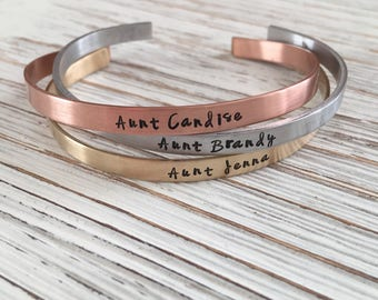 Sister Jewelry, Mom Jewelry, Custom Cuffs, Personalized Cuffs, Gift for Sister, Gift for Mom, Hand Stamped Jewelry, Stamped Cuff, Bracelet