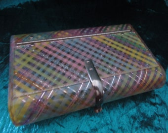 VINTAGE Rare Rare Wilardy PASTEL PLAID Pinks Greens Blues Purples Yellows and Orange with Silver Threads Lucite Clutch Purse! Cab