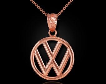 Rose Gold VW Volkswagen Charm Necklace - 10k, 14k