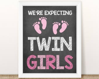 We're expecting twin girls pregnancy announcement, Twin girls pregnancy reveal, chalkboard photo prop, Pregnant With Twins, gender reveal