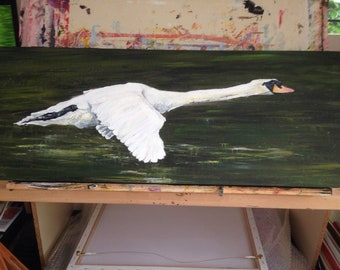 Swan In Flight, Original Painting .
