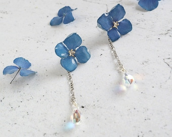 Hydrangea earrings with Swarovski crystal - 2 way use, Blue real flower earrings, Flower earrings, Flower resin jewelry, Bridesmaid Gift