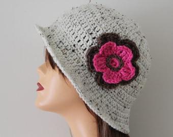 Crocheted Hat Oatmeal Cloche Style Hat