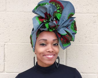 African Print Tree of Life Ankara Head Wrap