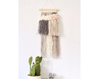 Wall Weave | Handwoven Tapestry | Woven Wall Hanging | Woven Wall Art - nursery decor, yarn wall hanging, wall weave, neutral beige boho art