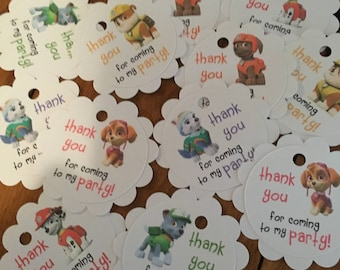 12 Paw Patrol Party Favor Thank You Tags (can be personalized)