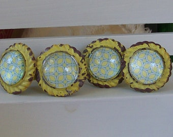 Yellow Cast Iron Knob with Glass Front-Shabby Chic Dresser Drawer Pull-6 knobs