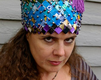 Handwoven paper hat made out of recycled dog food bags, Wearable Art- ''King Tut''