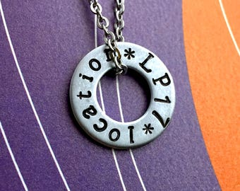 Liam Payne Hand Stamped Custom Tour Washer Necklace , Fandom Jewelry, Customized With your city or venue, Pendant Necklace