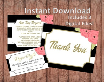 INSTANT DOWNLOAD - Black and White Stripe with Floral | Add-Ons Thank You | Diaper Raffle | Bring a Book