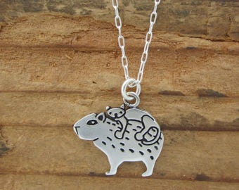 Sterling Cat and Capybara Necklace - Silver Silver Capybara Pendant