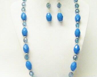 Blue Faceted Oval Acrylic Bead Necklace/Bracelet/Earrings