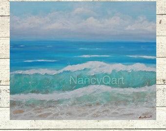 Ocean artwork - Beach art - Seascape painting - Original art on giclee print by Nancy Quiaoit at NancyQart