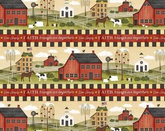 Farm Life Community, Border Stripe, The Way Home, Jennifer Pugh, Wilmington Prints (By YARD)~