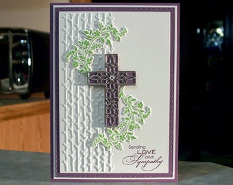 "Handmade Sympathy Card - 5"" x 7"" - Stampin Up Hold on to Hope - Ornamental Die-Cut Cross & Branches"