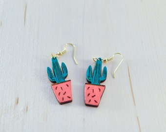 Cactus Dangle Earrings  | Cactus jewelry | Wood painted earrings | Earrings & Necklaces