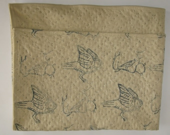 SALE Owl and Bird Block Print Blanket