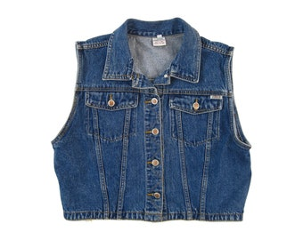90s Y2K Blue Jean Denim Button Down Vest Sleeveless Fitted Cropped Jacket Coat (Women's Size Large) #T020